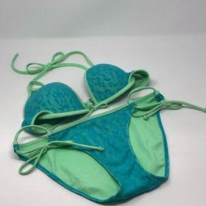 Victoria's Secret Bikini Green Blue Small